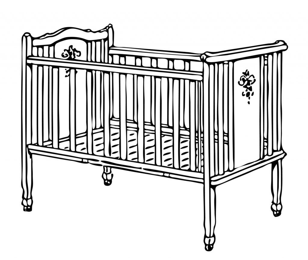 Crib Cot Illustration Clipart 1024x865